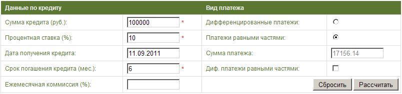 Форма ввода данных для расчёта аннуитетного платежа
