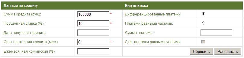 Форма ввода данных для расчёта дифференцированного платежа
